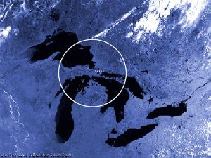 Location of the ethanol plant near Kincheloe, Mich. Timber would be taken from within a 150-mile radius, represented by the circle. About 1/3 of the area in the circle is water from lakes Superior, Michigan and Huron.