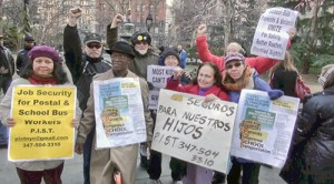 Parents, supporters rally Jan. 6 for school bus drivers.WW photo: Mike Eilenfeldt