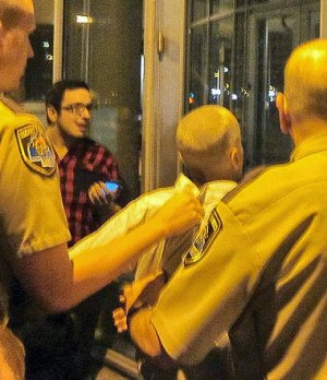 Leslie Feinberg arrested in solidarity with CeCe McDonald, Minneapolis, June 4, 2012. Photo: Billy Navarro, Jr.