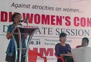 LeiLani Dowell speaking at Indian women's conference delegate session, Jan. 30.
