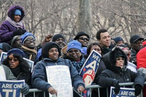 School bus workers demonstrate Feb. 10 at New York City Hall Park. WW photo: Brenda Ryan