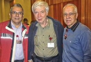 International Secretaries Rodrigo Cabezas (left) of the PSUV and Carolus Wimmer of the PCV support Nicolas Maduro for next Venezuelan president; with WW's John Catalinotto (center).