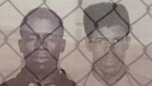 Herman Wallace (left) and Albert Woodfox with Angola prison in the 1970s (background).Photo: http://www.inthelandofthefreefilm.com