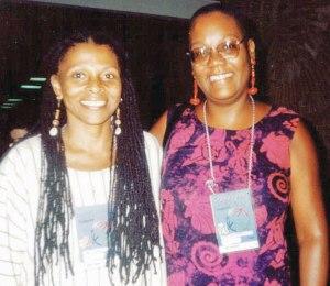 Assata Shakur with Monica Moorehead in 1997.
