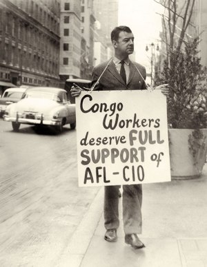 Vince Copeland at U.N. protest in 1960.