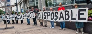 Protest in Detroit at General Motors shareholders' meeting in solidarity with Colombian GM workers.Photo: Frank Hammer
