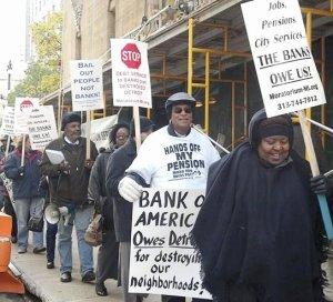 Protest at Bank of America, Nov. 12.WW photo: Kris Hamel