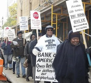 Protest at Bank of America, Nov. 12.WW photo: Kris Hamel