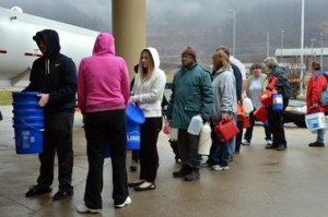 Waiting in line at a water truck in Charleston, W.Va., Jan. 10.