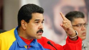 Venezuela's President Nicolas Maduro speaks during a national broadcast at Miraflores Palace in Caracas, Feb. 16.