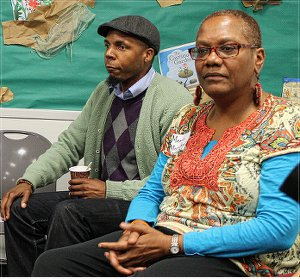 """Lamont Lilly & Monica Moorehead lead """"What is a revolutionary"""" discussion on March 29.WW photo: Durham WWP branch"""