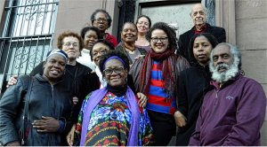 Norma Guillard, front center, with supporters, May 4.WW photo: Anne Pruden