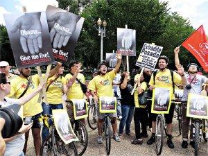 Cyclists let Washington know: 'Free the Five!'WW photo: Monica Moorehead