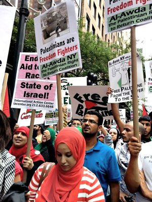 Thousands of Palestinians and their supporters take to the streets of New York City in protest, July 9. WW photo: Sara Flounders