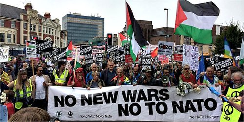 Protest at NATO Summit in Newport, Wales.