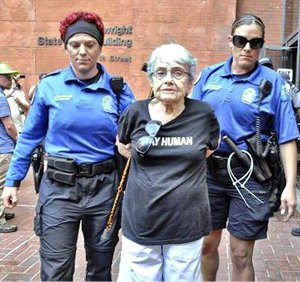 Hedy Epstein, a 90-year-old Holocaust survivor, arrested at a protest in Ferguson, Mo. Epstein was on the boat to Gaza which attempted to break the Israeli blockade in 2011.