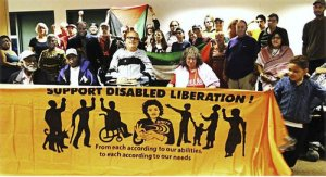 Activists with disablities build solidarity with labor and community struggles.Photo: Alberto Cardona