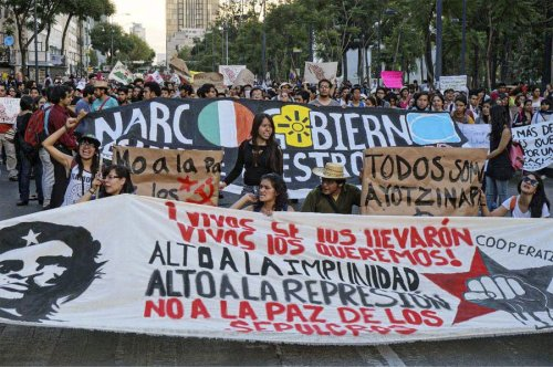 Protest in Mexico City for dead and missing students, Oct. 8.Photo: Alan Roth