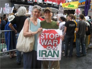 With Minnie Bruce Pratt at Stop War on Iran protest.WW photo: Mike Eilenfeldt
