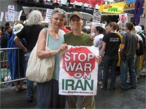 With Minnie Bruce Pratt at Stop War on Iran protest.WW photo: Mike Eilenfeldt