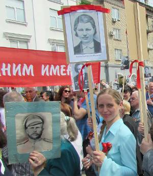Anna Brekhova at Victory Day parade in Lugansk, May 9.