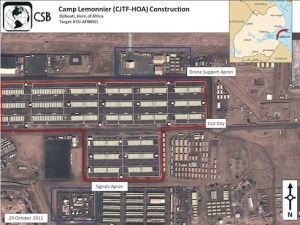 The Pentagon maintains a large military base in Djibouti at Camp Lemonnier where the U.S. Africa Command (AFRICOM) directs its operations in the region.