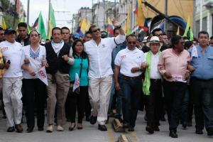 Ecuadorian President Rafael Correa at a May Day March in Quito.