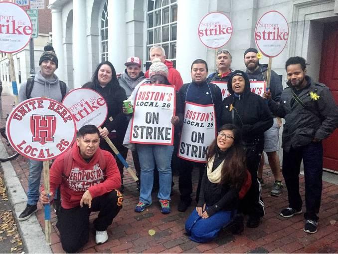 Dining hall workers on militant strike against Harvard Corporation.