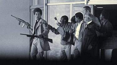 Aiming to free his unjustly imprisoned brother George, Jonathan Jackson, 17, William Christmas, James McClain and Ruchell Magee take judge, prosecutor, three jurors as hostages to waiting van Aug. 7, 1970.