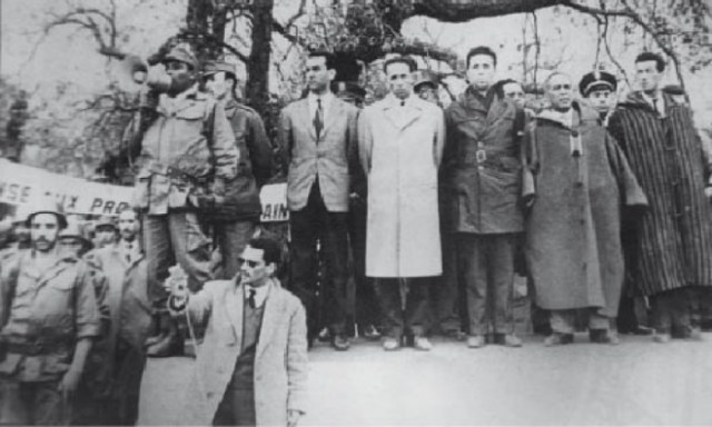 Five Algerian leaders after their release: Hocine Aït Ahmed, Mohamed Boudiaf, Ahmed Ben Bella, Rabah Mohamed Khider and Bitat.