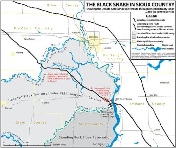 Map of unceded Native lands under the 1851 Treaty of Fort Laramie. The Dakota Access Pipeline cuts through these stolen Native lands.