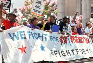 First National Convention of Fight for 15 marches in Richmond, Va., August 13.