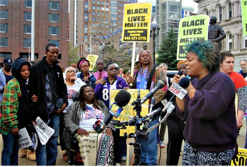 City Hall rally on April 20 assails fatal beating.WW photo: Sharon Black