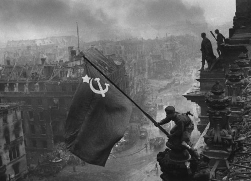 Berlin 1945. Red flag on the Reichstag.