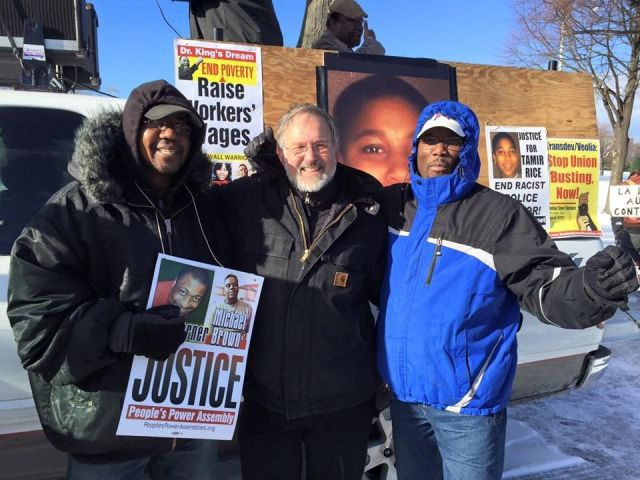 Some of Local 8751's Team Solidarity attended MLK Day actions in Boston. From left, Claude St. Germain, Stevan Kirschbaum, Fred Floreal.Photo: Team Solidarity