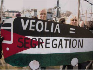 A Palestinan flag on a school bus is a symbol of the Bus Drivers Union solidarity with Palestine. When Veolia Corporation attacked their union, the bus drivers publicized Veolia's role in illegal Israeli settlements in the West Bank.