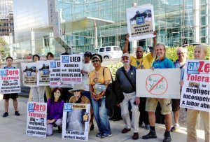 July 31 solidarity protest in front of GM world headquarters, Detroit.WW photo: Martha Grevatt