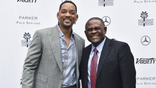 Actor Will Smith, Dr. Bennet Omalu at 'Concussion' premiere.