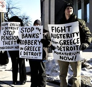 Some of the protesters outside Chase Bank, Feb. 27.WW photo: Kris Hamel