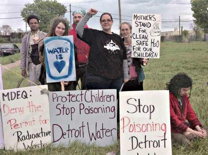 Protest against fracking waste expansion in Detroit neighborhood, May 8.