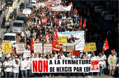Workers demand no closing of Nexcis solar panel plant in Rousset, France.