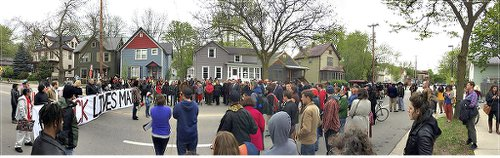 Protesters gather May 12 in Madison near the location of Tony Robinson's murder.Photo: Ferguson to Madison