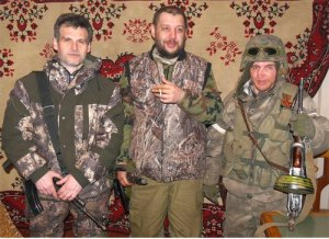 Commissar Alexey Markov (Good), Commander Pyotr Biryukov (Arkadich) and Roman Omelchenko (Plastun) during the liberation of Debaltsevo, Februray 2015.Photo: Volunteer Communist Detachment