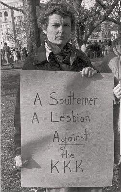 Minnie Bruce Pratt anti-Klan demonstration, Washington, DC, 1982.Photo: Joan E. Biren