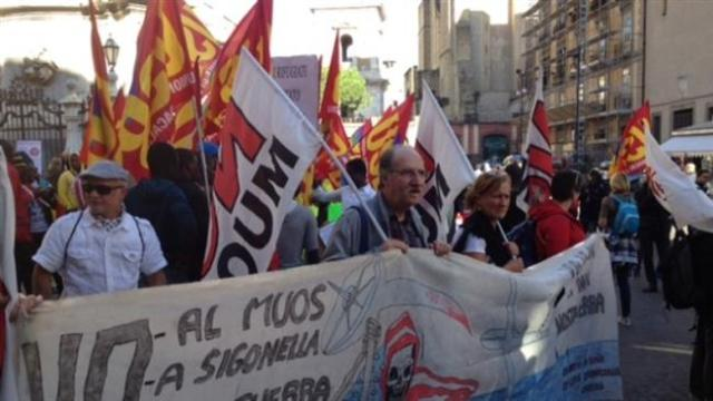 Thousands of protesters take part in an anti-NATO protest in Naples, Italy, on Oct.24.