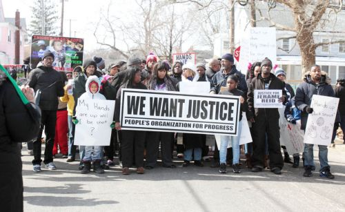 Feb. 28 protesting the Dec. 30 police shooting of Jerame Reid in Bridgeton, N.J.