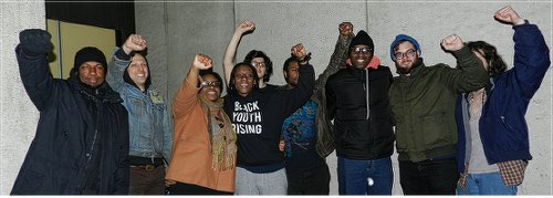 Activists celebrate release from jail; Scott Williams, second from right.WW photo: Joseph Piette