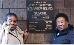 Marcina Cole and Dorothy Pinkney at Marquette City Hall during a break while visiting political prisoner Rev. Edward Pinkney.WW photo: David Sole