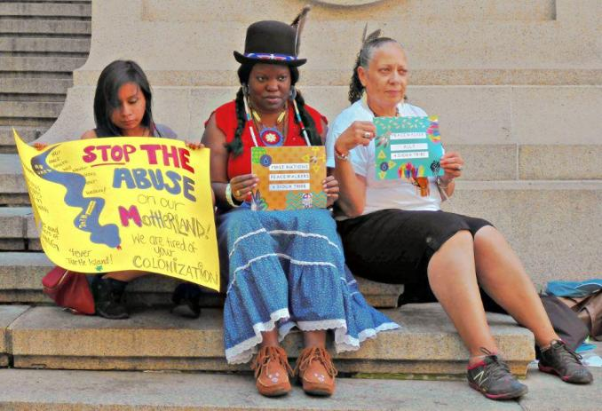 Protest outside Museum of the American Indian in NYC in solidarity with the struggle in North Dakota, Aug. 27.