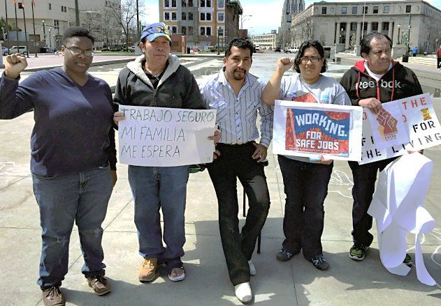 Workers Center of Central New York demonstrates in Syracuse, April 28.Photo: Rosa Mejias